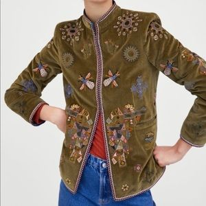 💋HP!💋 Zara Velvet Embroidered Mandarin Jacket M
